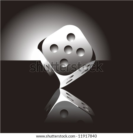 Realistic metal dice on black background - stock vector
