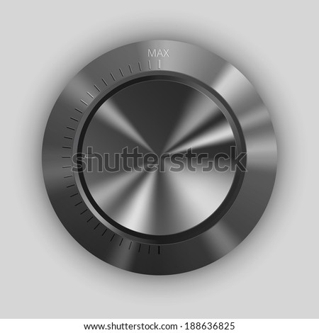Realistic metal glossy volume button, vector illustration on white background