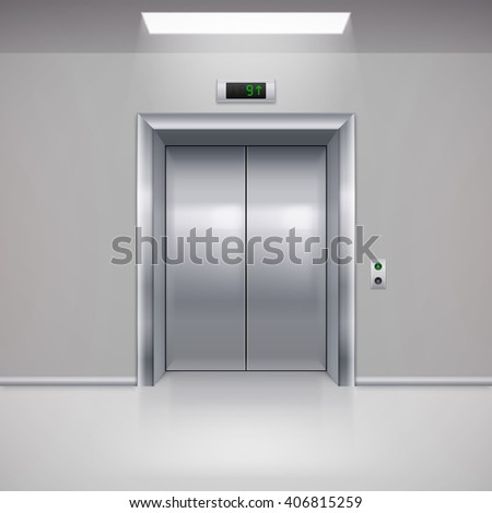 Realistic Metal Modern Elevator with Closed Door