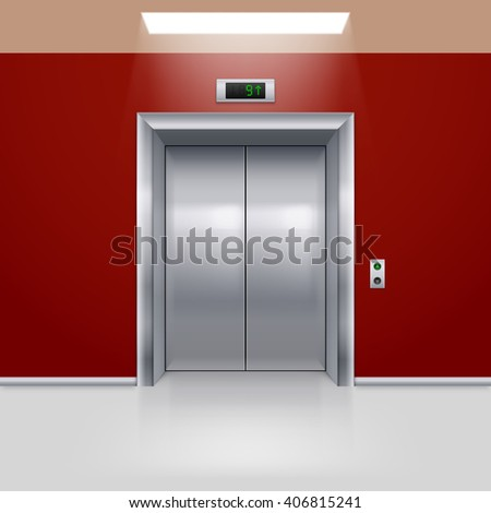 Realistic Metal Modern Elevator with Closed Door in Red Hall - stock vector