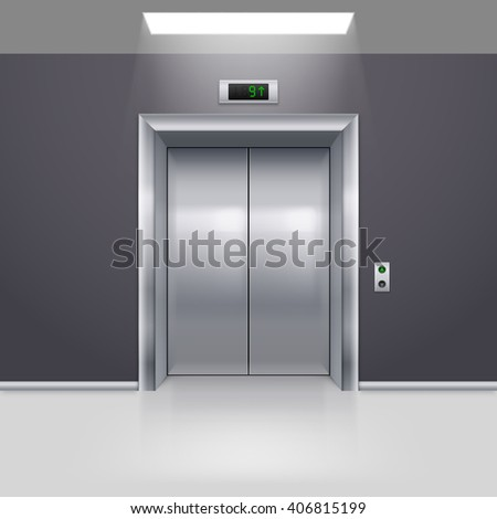 Realistic Metal Modern Elevator with Closed Door on Floor