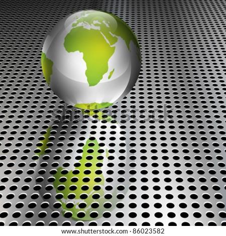 Realistic metallic green globe on chrome grid (EPS10 - Gradient, Transparency, Mesh) - stock vector