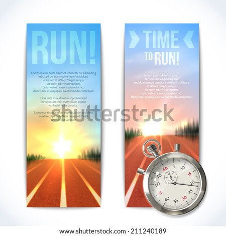 Realistic metallic stopwatch time to run sport vertical banners set isolated vector illustration. - stock vector