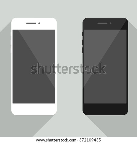Realistic mobile phone collection in new iphone style.  White and black smartphone with shadow isolated on gray background. Cellphone template for your design, web site, development app - stock vector