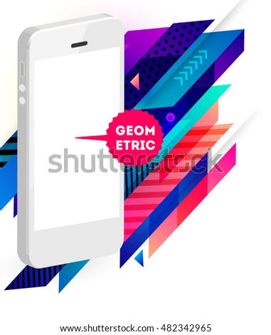 Realistic Mobile Phone Icon with Trendy Geometric Background - Vector Illustration
