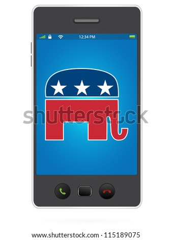 Realistic Mobile Phone on White Background with Republican Party Logo - stock vector