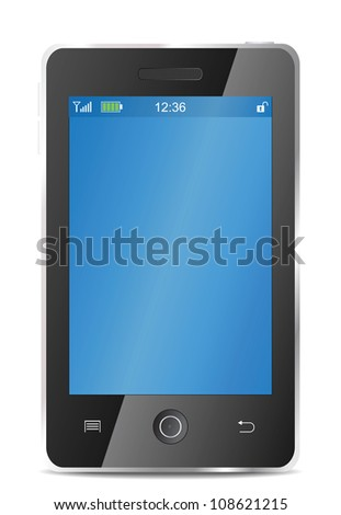 Realistic mobile phone vector eps8 illustration - stock vector
