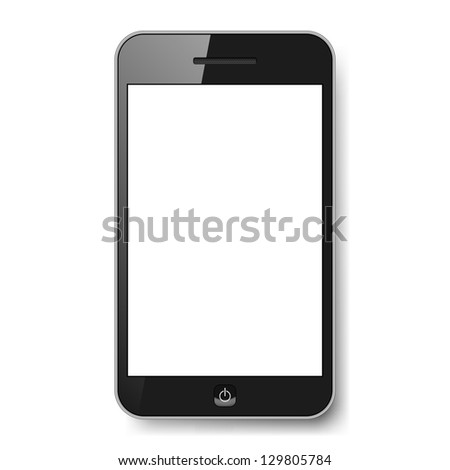 Realistic mobile phone with blank screen. Illustration on white background for design