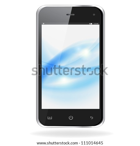 Realistic mobile phone with blue waves on screen isolated on white background. Vector eps10 illustration - stock vector