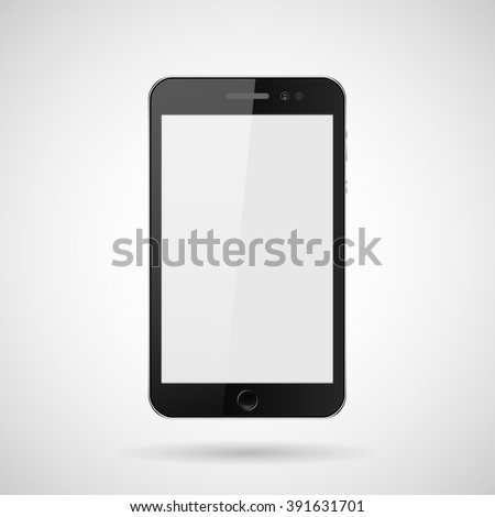 realistic mobile phone with buttons, isolated with shadow on a gray background, vector illustration stylish for web design - stock vector