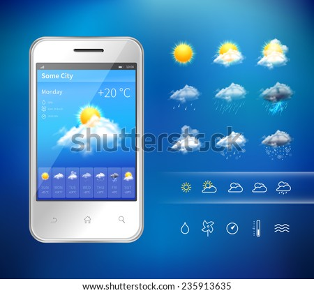 Realistic mobile phone with weather forecast widget mobile application program layout template vector illustration - stock vector