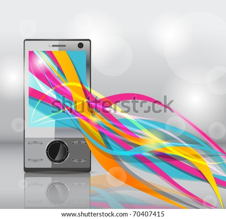 Realistic mobile vector phone with bright lines - stock vector