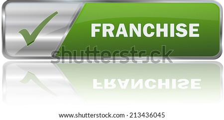realistic modern green 3D franchise label sign  - stock vector