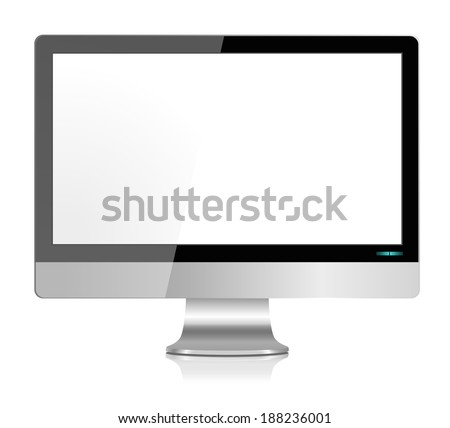 Realistic Modern LCD Computer Monitor Screen in Stainless Steel - Vector with grouped items, named layers and with a separate layer to easily add your own image to monitor screen EPS10   - stock vector