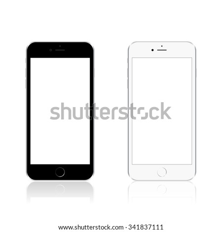Realistic modern phone, mock up, isolated on white background. Vector illustration - stock vector