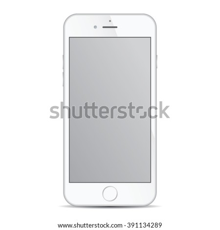 Realistic modern smart iphon with silver color isolated. - stock vector