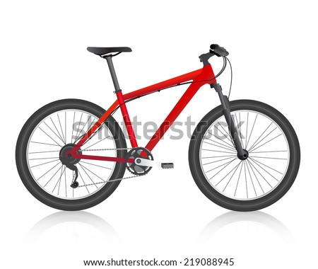 Realistic  mountain bike  red vector - stock vector
