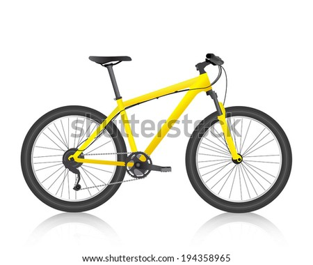 Realistic mountain bike yellow vector - stock vector