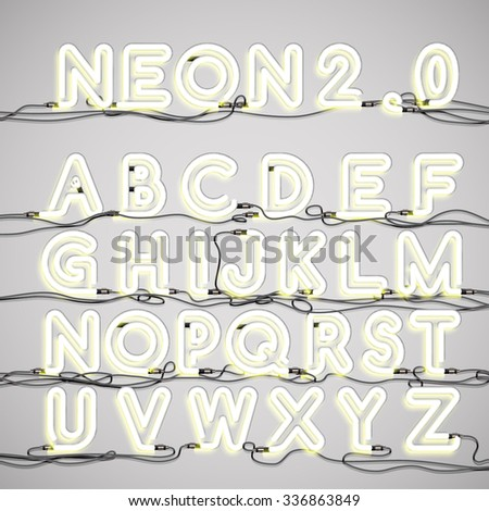 Realistic neon alphabet (Uppercase) with wires, vector - stock vector