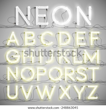 Realistic neon alphabet with wires (ON), vector - stock vector