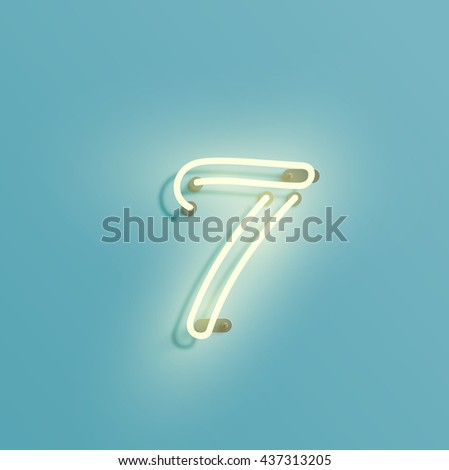Realistic neon character from a typeset, vector - stock vector