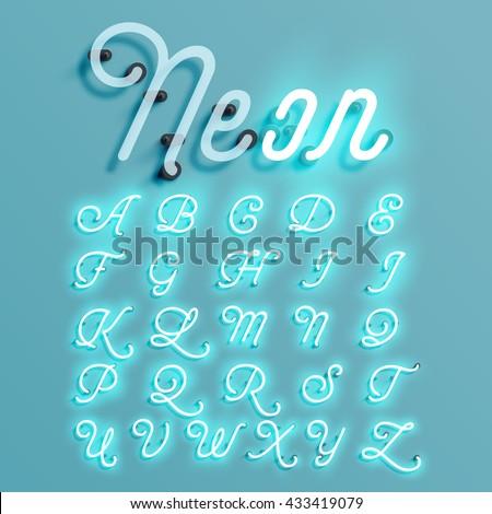 Realistic neon character typeset, vector - stock vector