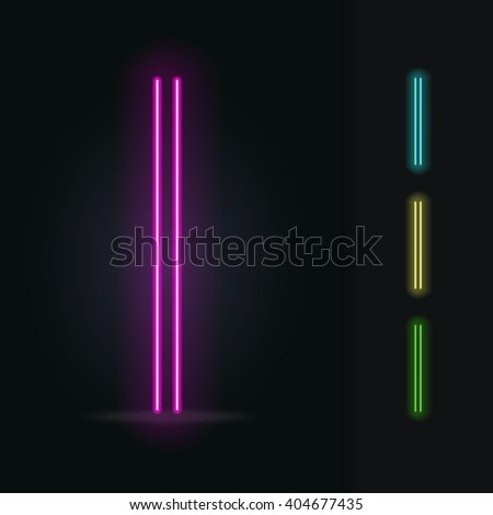Realistic neon tube alphabet. Vector illustration. Letter I