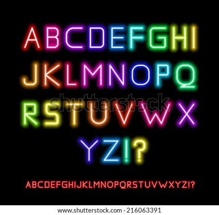 Realistic Neon Tube Letters. Alphabet, Vector illustration - stock vector
