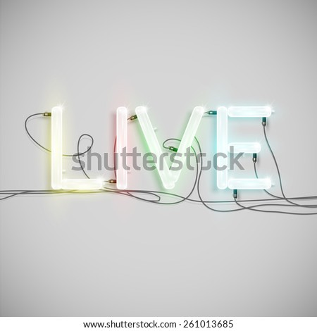 Realistic neon word with wires, vector - stock vector