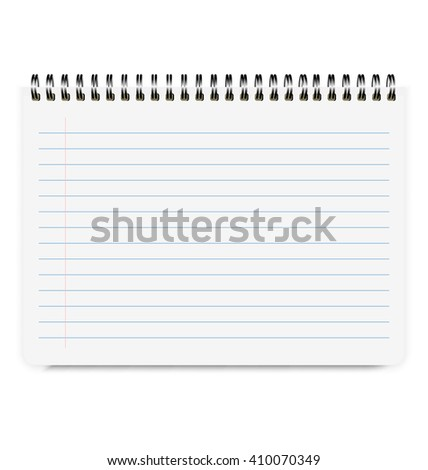 Realistic Notebook Size A4 with Horizontal Line Isolated On White Background - stock vector