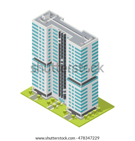 Realistic office building, isometric skyscraper, modern apartments. Vector illustration.