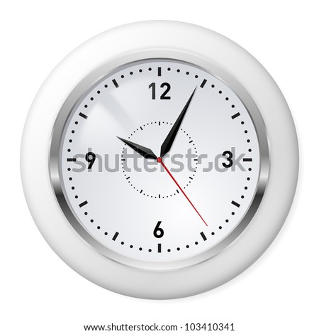 Realistic Office Clock. Illustration on white background.