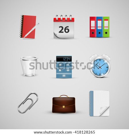 Realistic office icons, for web, vector - stock vector