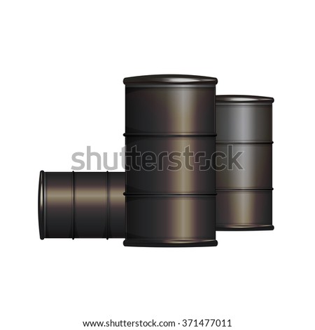 Realistic oil barrels vector isolated on white. Gray golden vector gas barrel concept. Industrial barrels in golden grey color. Toxic fuel barrel. Gas oil or fuel barrel storage. Oil industry objects. - stock vector