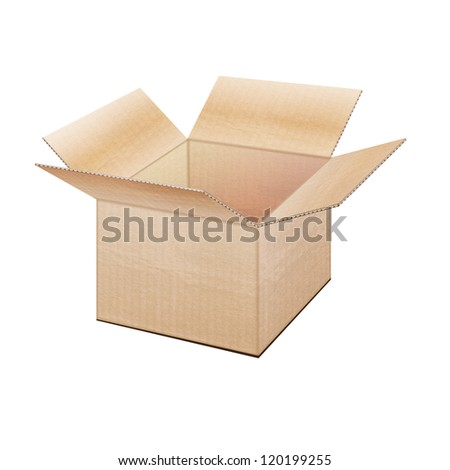 Realistic open cardboard box on a white background
