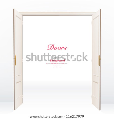 Realistic open door on white background. Vector design. - stock vector