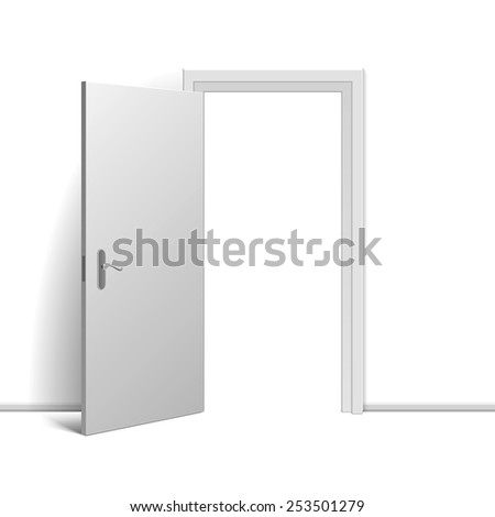 Realistic open door on white background. Vector illustration