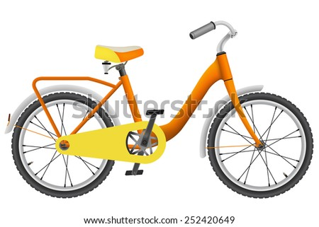Realistic orange childrens bike for boys - stock vector
