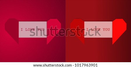 Realistic Origami Love Letter Heart On Abstract Background Vector Illustration