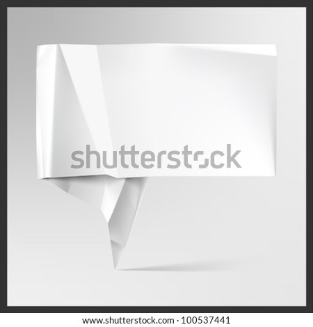 Realistic origami speech bubble - stock vector