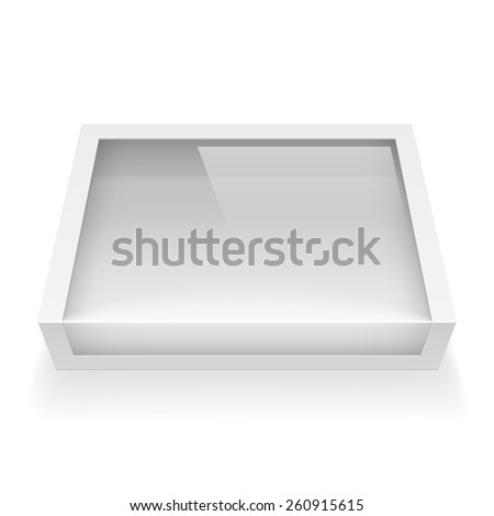 Realistic Package Cardboard Box with a transparent plastic window. Vector illustration - stock vector