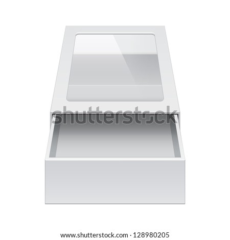 Realistic Package Cardboard Sliding Box Opened with transparent plastic window. For small items, matches, and other things. Vector Illustration - stock vector