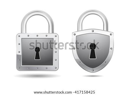 realistic padlock icon - stock vector