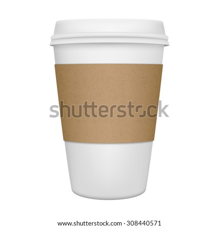 Realistic paper coffee cup isolated. Vector EPS10 illustration. - stock vector