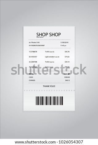 realistic paper shop receipt barcode vector stock vector 1026054307