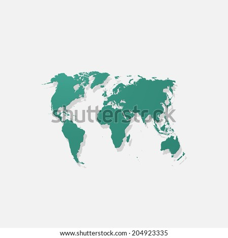 Realistic paper sticker: map of the world. Isolated illustration icon - stock vector