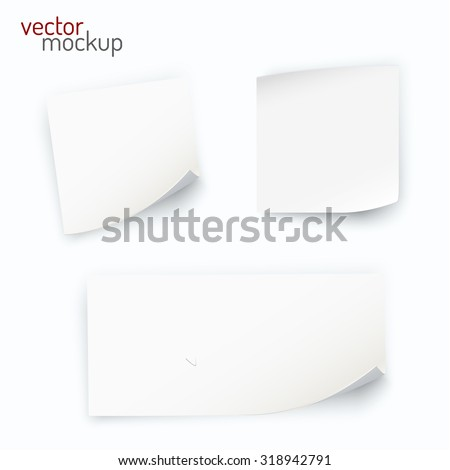 Realistic paper stickers collection. Vector eps10. - stock vector