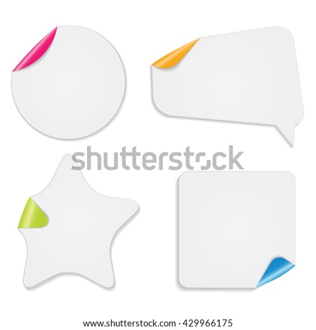 Realistic Paper Stickers Isolated on White Background Vector Illustration EPS10 - stock vector