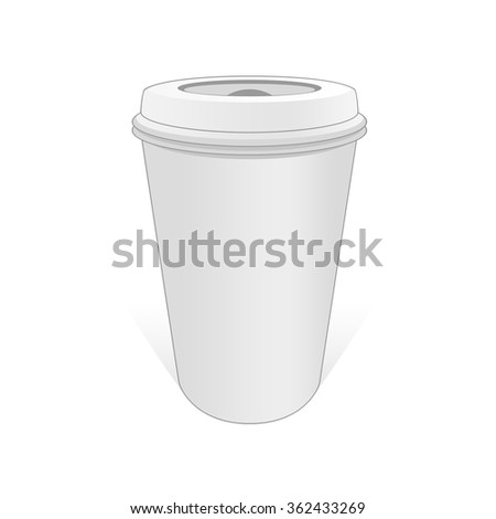 Realistic pattern cup of coffee on a white background. White cup of coffee with a lid. Vector template for use in your layouts. - stock vector