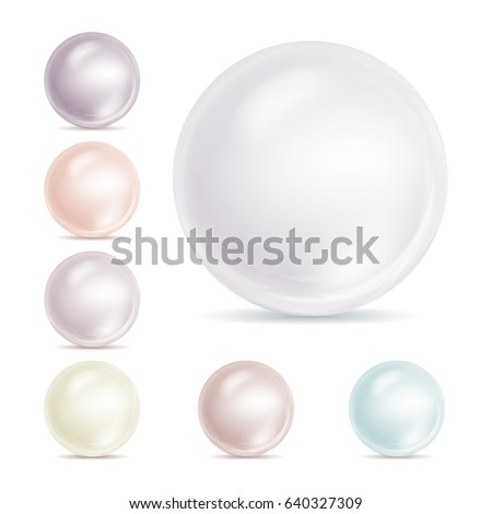 Realistic Pearls Isolated Vector. Set 3d Shiny Oyster Pearl Ball For Luxury Accessories. Sphere Shiny Sea Pearl Illustration